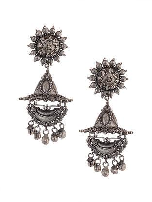 Tribal Silver Tone Brass Earrings