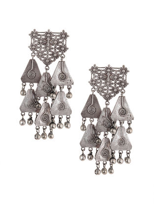 Tribal Silver Tone Brass Earrings