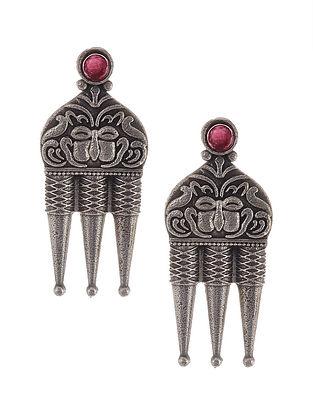 Maroon Tribal Silver Tone Brass Earrings