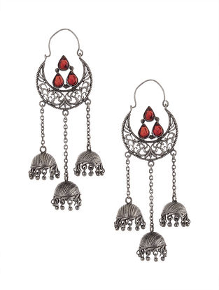 Red Tribal Silver Tone Brass Jhumki Earrings