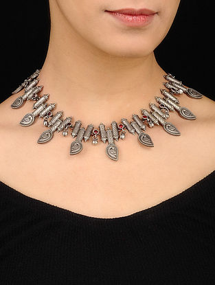 Maroon Tribal Silver Tone Brass Necklace