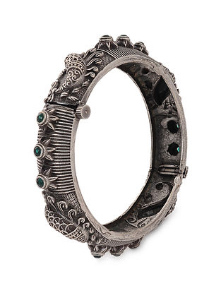 Green Tribal Silver Tone Brass Hinged Bangle (Bangle Size: 2/6)