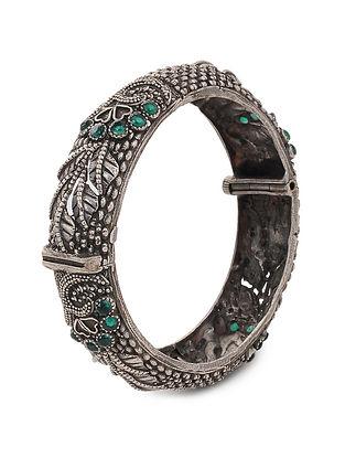 Green Tribal Silver Tone Brass Hinged Bangle (Bangle Size: 2/4)