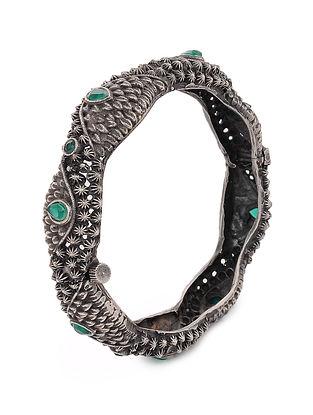 Green Tribal Silver Tone Brass Hinged Bangle (Bangle Size: 2/6)