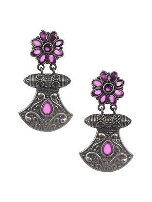 Pink Silver Tone Tribal Earrings