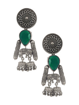 Green Silver Tone Tribal Earrings