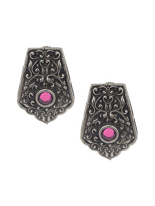 Pink Silver Tone Tribal Earrings