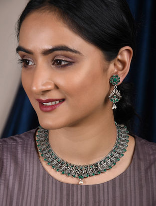 Green Silver Tone Handrafted Tribal Necklace with Earrings