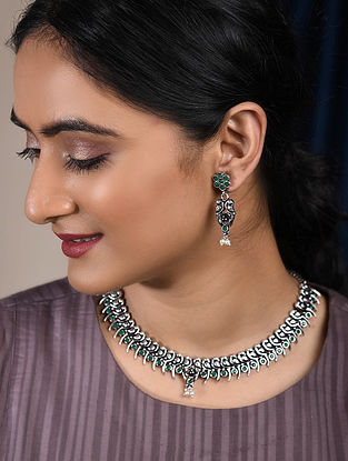 Green Silver Tone Handcrafted Tribal Necklace with Earrings