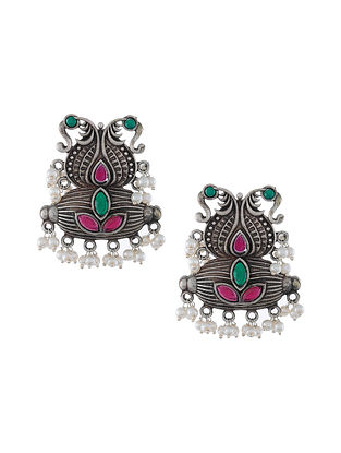 Green Pink Silver Tone Tribal Earrings with Pearls