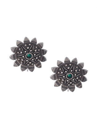Green Silver Tone Tribal Stud Earrings
