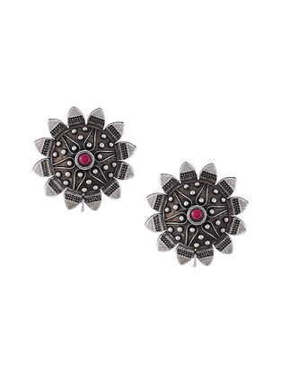 Pink Silver Tone Tribal Stud Earrings