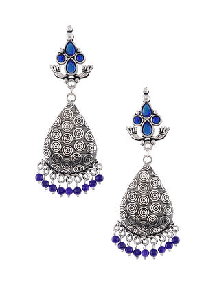 Blue Silver Tone Tribal Earrings