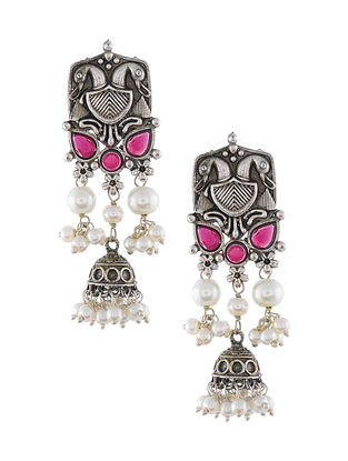 Pink Silver Tone Tribal Earrings with Pearls