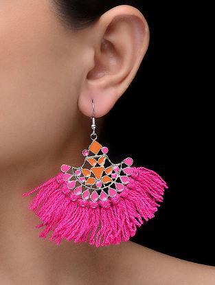 Pink-Orange Enameled Tassel Earrings