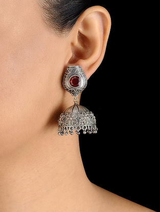 Red Silver Tone Brass Jhumka