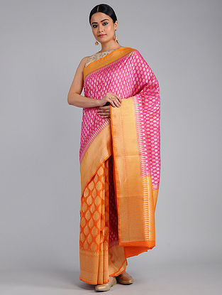 Pink-Orange Benarasi Linen Silk Saree