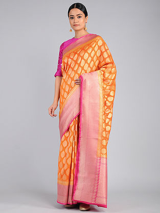 Orange-Pink Benarasi Linen Silk Saree