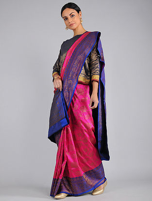 Pink-Blue Benarasi Silk Saree