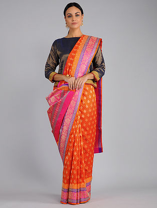 Orange-Pink Benarasi Silk Saree