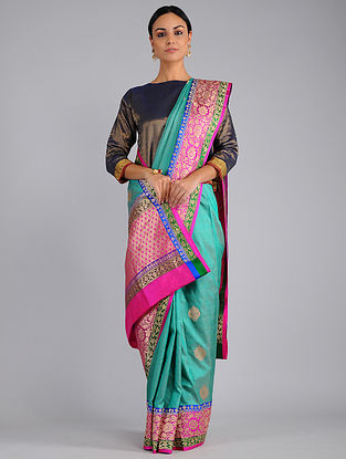 Green-Pink Benarasi Silk Saree