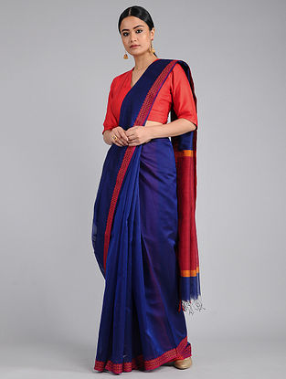 Blue-Red Chanderi Saree with Woven Border