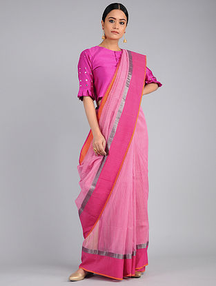 Pink-Orange Chanderi Saree with Zari