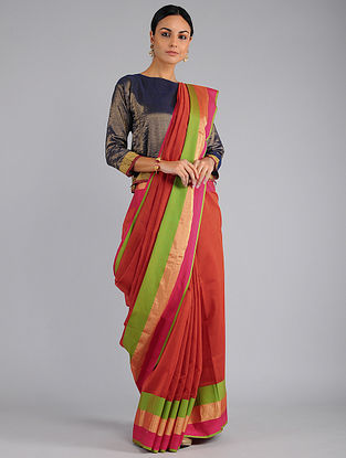 Red-Green Chanderi Saree with Zari