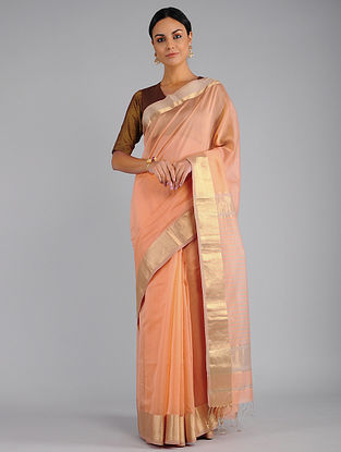 Peach Chanderi Saree with Zari