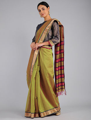 Green-Pink Chanderi Saree with Zari