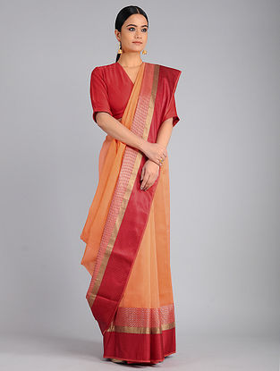 Peach-Red Chanderi Saree with Zari