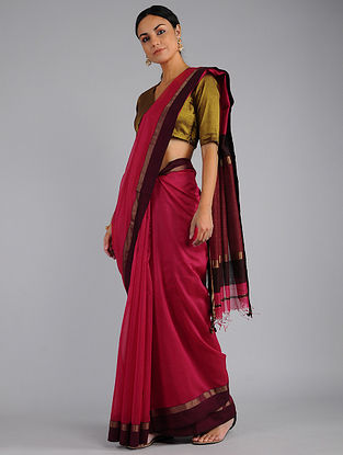 Pink-Maroon Chanderi Saree with Zari