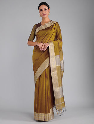 Olive Chanderi Saree with Zari
