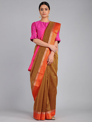 Brown-Orange Chanderi Saree with Zari
