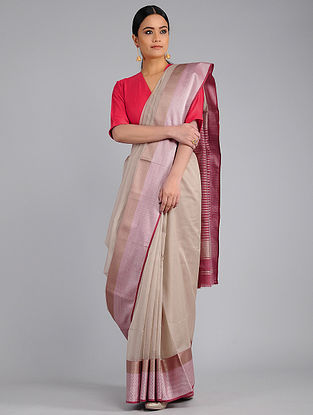 Beige-Pink Chanderi Saree with Zari
