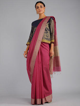 Pink-Beige Chanderi Saree with Zari