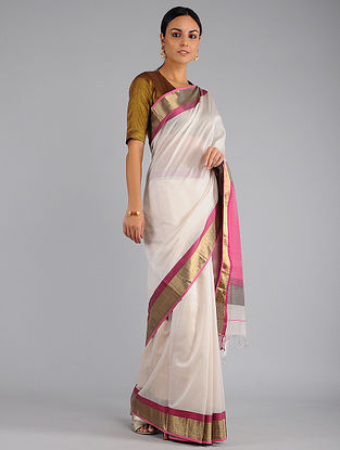 Ivory-Pink Chanderi Saree with Zari