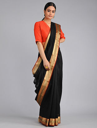 Black-Red Chanderi Saree with Zari