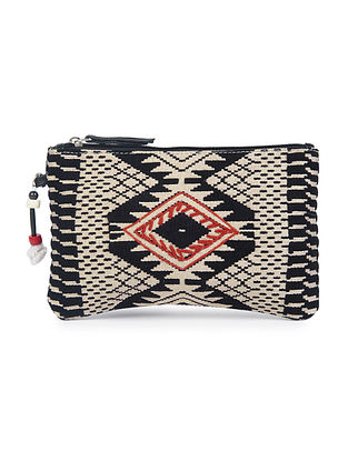 Black-Beige Toda Inspired Jacquard Embroidered Wristlet