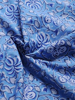 Blue-Ivory Block-printed Gadd Cotton Fabric