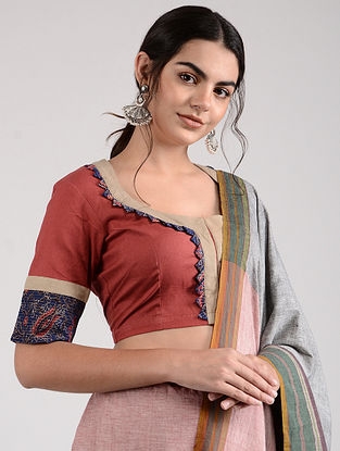 Red-Beige Ajrakh-printed Cotton Blouse