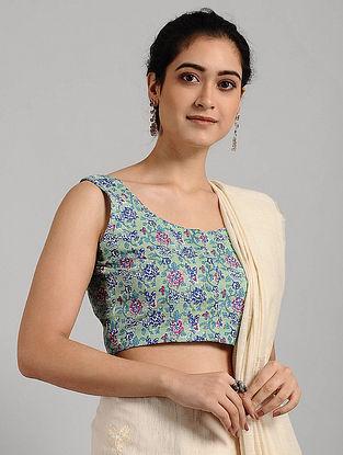 Green-Blue Block-printed Cotton Blouse