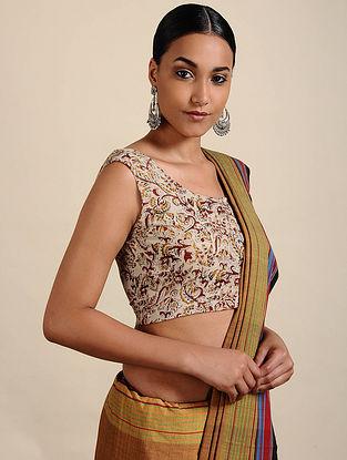 Ivory-Maroon Kalamkari Printed Cotton Blouse