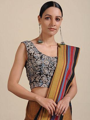 Grey-Black Kalamkari Printed Cotton Blouse