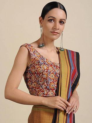 Red-Yellow Kalamkari Printed Cotton Blouse