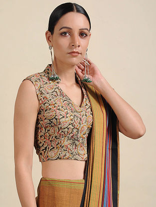 Ivory-Green Kalamkari Printed Cotton Blouse