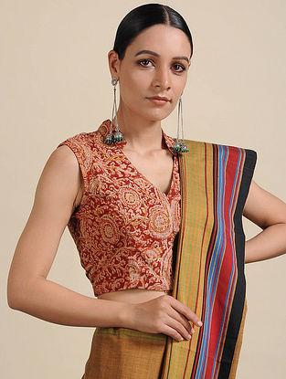 Red-Ivory Kalamkari Printed Cotton Blouse
