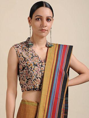 Black-Pink Kalamkari Printed Cotton Blouse