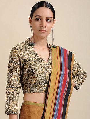 Grey-Ivory Kalamkari Printed Cotton Blouse