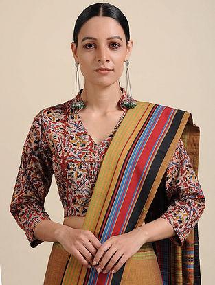 Red-Blue Kalamkari Printed Cotton Blouse